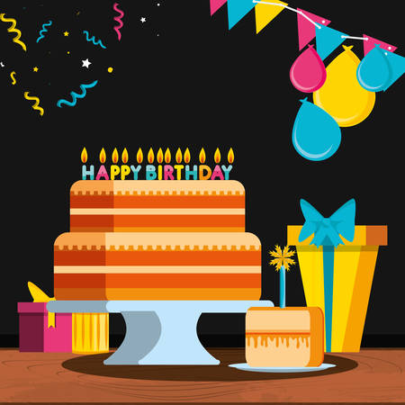 birthday cake with gifts and candles vector illustration design