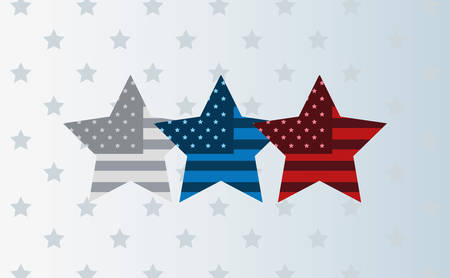 three stars with american flag background vector illustration