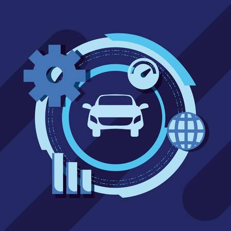 autonomous smart car world gear statistics vector illustration Illustration