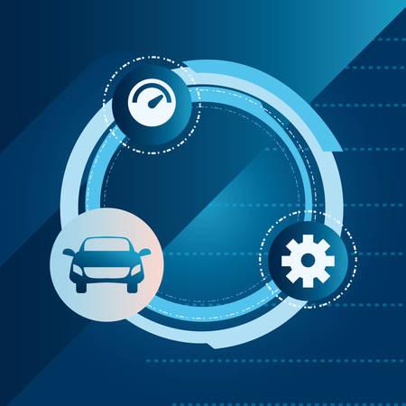 autonomous smart car connected devices digital vector illustration Stock Illustratie