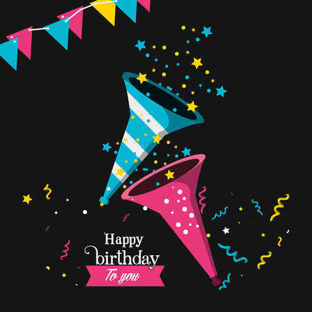 birthday trumpet with garlands hanging vector illustration design