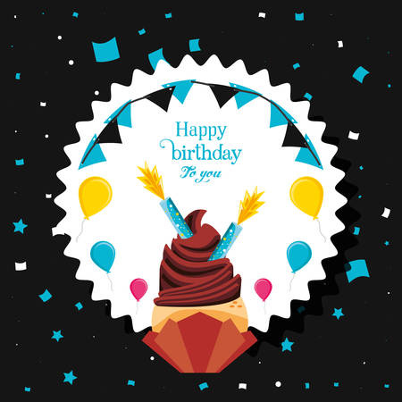 birthday cupcake with candles and balloons helium vector illustration design