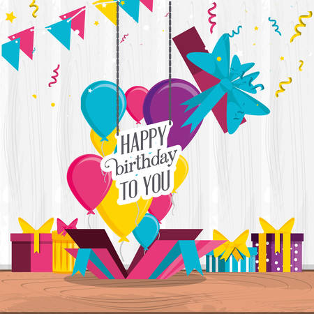 birthday with gifts box and set icons vector illustration design