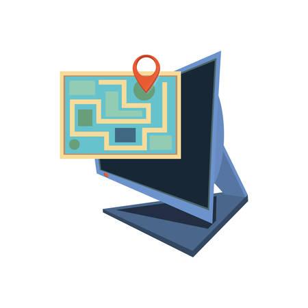 computer desktop with delivery app vector illustration design Illustration