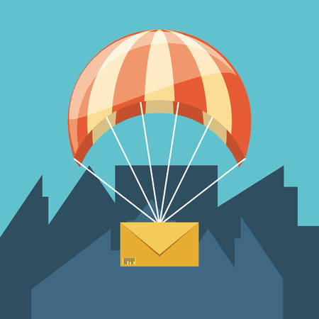 parachute flying with envelope delivery service vector illustration design Ilustração