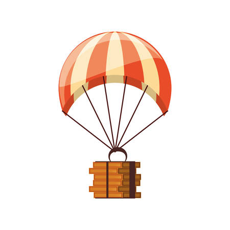 parachute flying with pizza boxes delivery service vector illustration design