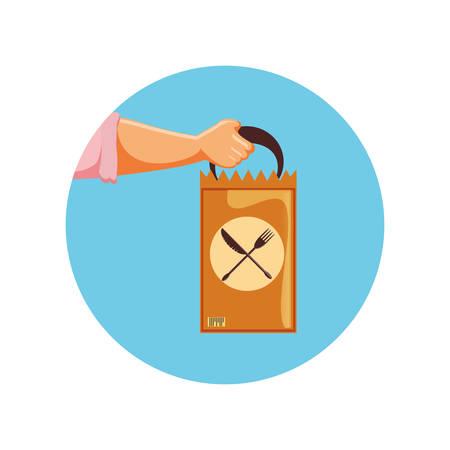 delivery food bag icon vector illustration design