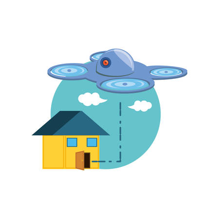 drone technology flying with house vector illustration design Vecteurs