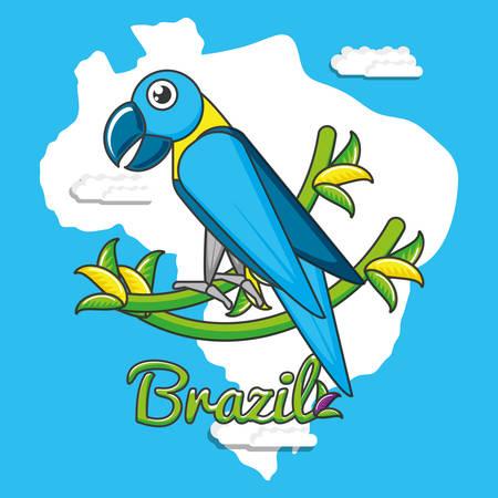 brazilian parrot culture icons vector illustration design