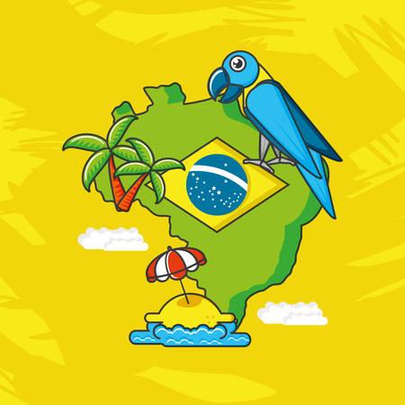 Carte du Brésil avec des icônes de la culture vector illustration design