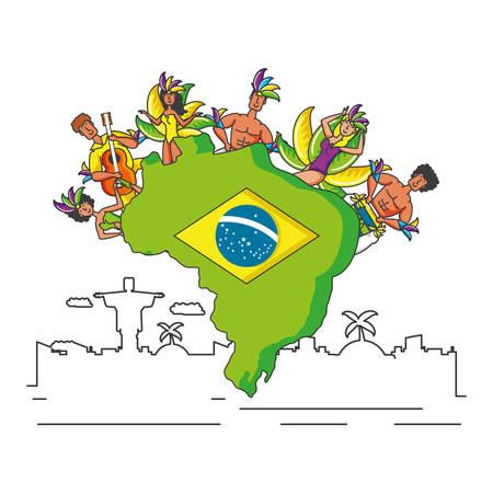 group of brazilian dancers characters vector illustration design Vetores