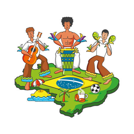 group of brazilian dancers characters vector illustration design