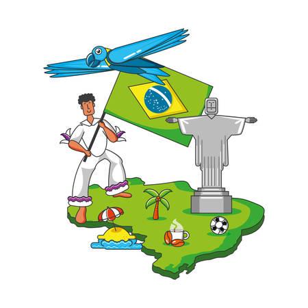 male brazilian dancer character vector illustration design