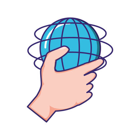hand with sphere planet browser vector illustration design