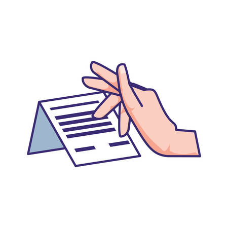 hand with receipt icon vector illustration design Vettoriali