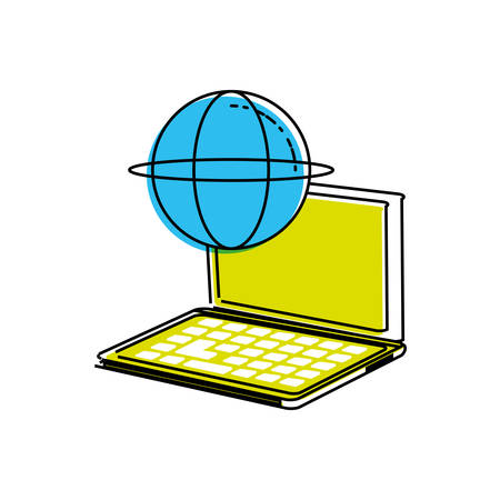laptop computer with sphere browser vector illustration design Çizim