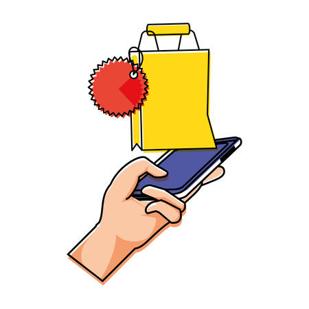 hand using smartphone with shopping bag vector illustration design