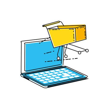laptopcomputer met ontwerp van de winkelwagentje vectorillustratie