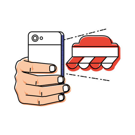 hand using smartphone with market tent vector illustration design