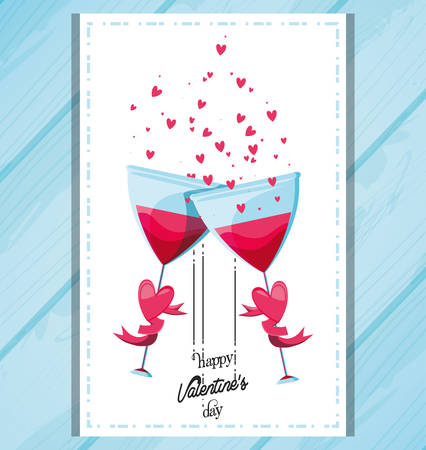valentines day card with glasses toasting vector illustration design