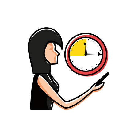 woman using smartphone with time clock vector illustration design