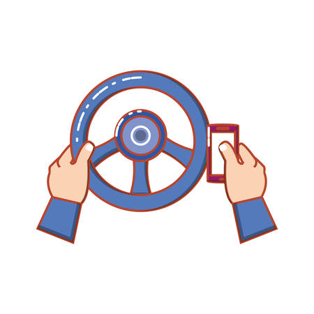 hands human driving and using cellphone vector illustration design