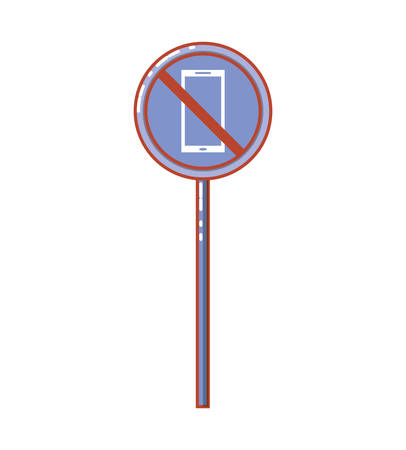 traffic signal with dont use smartphone vector illustration design