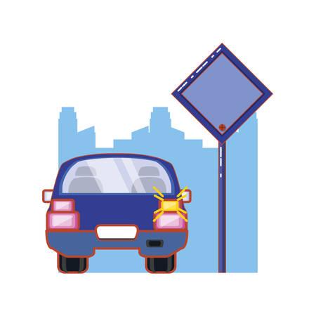 car sedan with traffic signal in the road vector illustration design