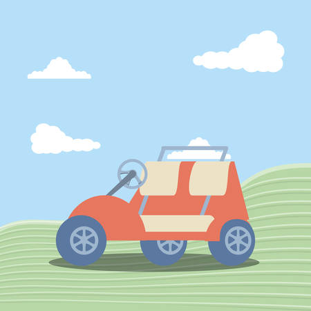 golf car in grass with sky and clouds vector illustration design