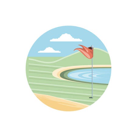 circular frame with field golf vector illustration design