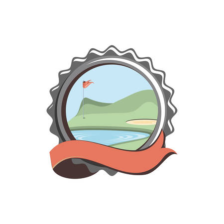 seal with field golf and ribbon vector illustration design
