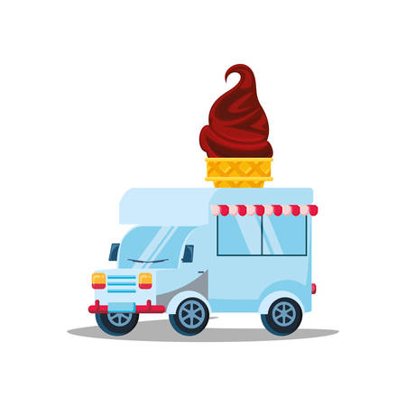 ice cream car isolated icon vector illustration design
