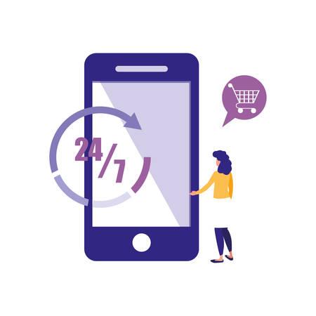 woman cellphone app online shopping market vector illustration
