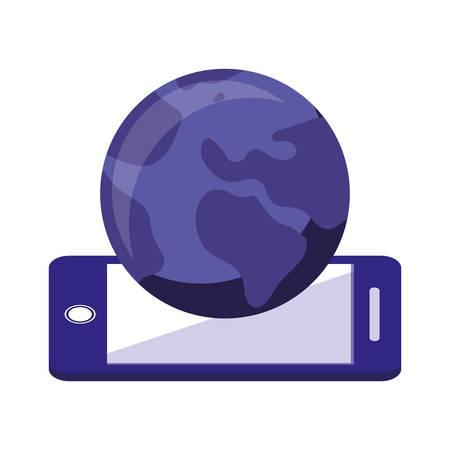 cellphone world online shopping market vector illustration Stock Illustratie