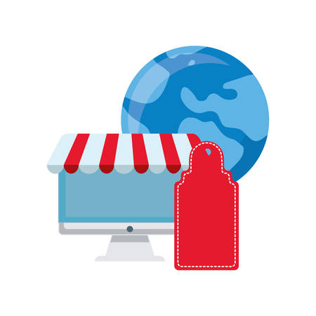 computer world tag online shopping market vector illustration