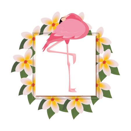 delicate flamingo floral wreath flower vector illustration