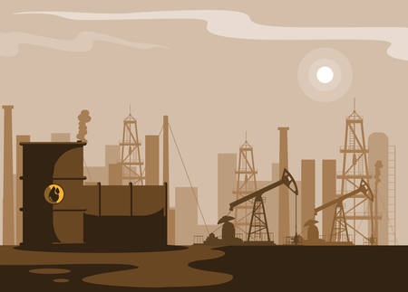 oil industry scene with plant pipeline vector illustration design Zdjęcie Seryjne - 116589366