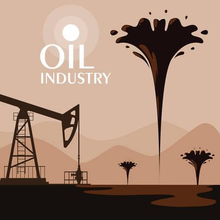 oil industry scene with derrick vector illustration design