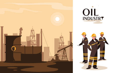 oil industry scene with plant pipeline and workers vector illustration design
