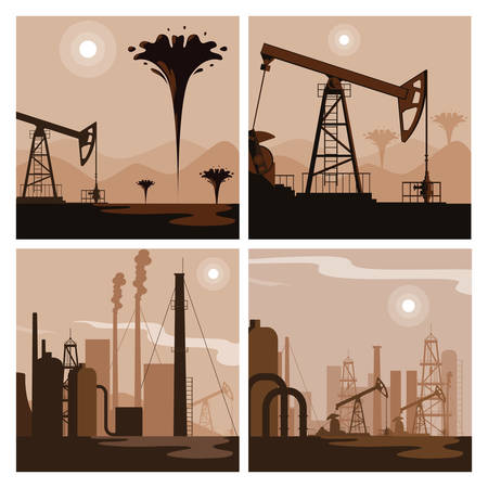 oil industry group scenes vector illustration design