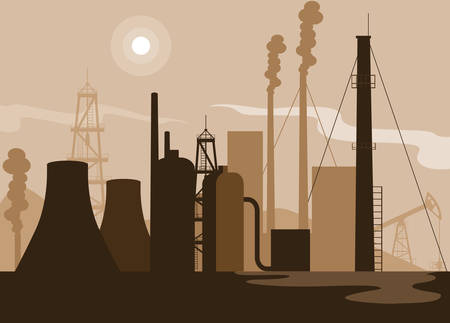 oil industry scene with plant pipeline vector illustration design