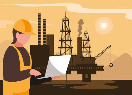 oil industry scene with marine platform and worker vector design
