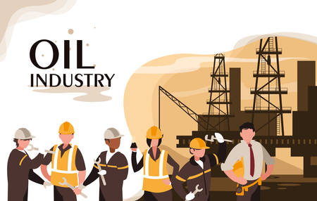 oil industry scene with marine platform and workers vector illustration design