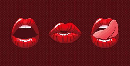 ensemble de bouches de femme style pop art design illustration vectorielle Vecteurs