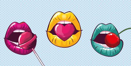 set of sexy woman mouths pop art style vector illustration design Ilustração