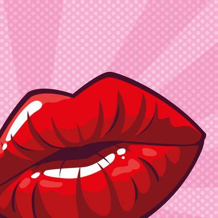sexy woman lips pop art style vector illustration design