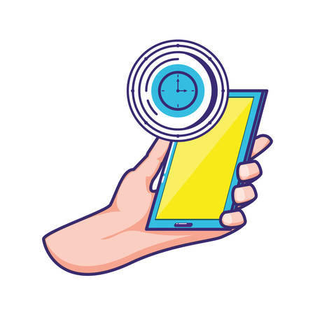 hand using smartphone with time clock vector illustration design