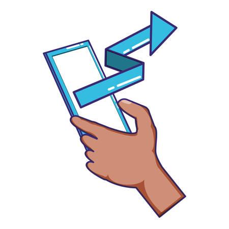 hand using smartphone with statistics arrow vector illustration design Vettoriali