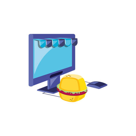 computer monitor with parasol store and hamburger vector illustration design Illustration