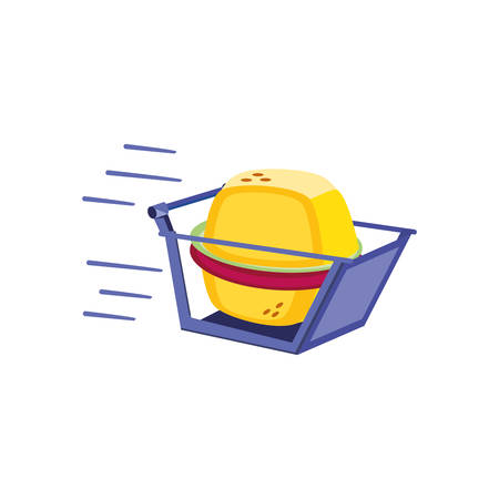 shopping basket with hamburger icon vector illustration design